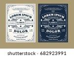 vintage label design set with... | Shutterstock .eps vector #682923991