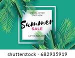 trendy summer sale template... | Shutterstock .eps vector #682935919