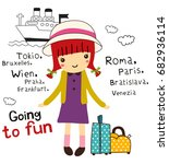 going to fun doodle cartoon | Shutterstock .eps vector #682936114