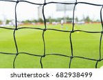 soccer net on perfect green... | Shutterstock . vector #682938499