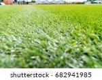 perfect green soccer pitch... | Shutterstock . vector #682941985