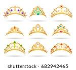 princess golden tiaras with... | Shutterstock .eps vector #682942465
