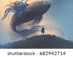 giant fish floating in the sky... | Shutterstock . vector #682942714