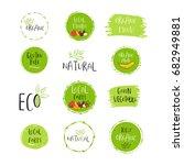 vector eco  bio green logo or... | Shutterstock .eps vector #682949881