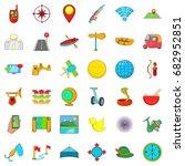 summer sport icons set. cartoon ... | Shutterstock .eps vector #682952851