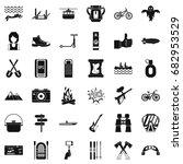 nature adventure icons set.... | Shutterstock .eps vector #682953529