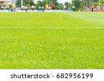 perfect green soccer pitch... | Shutterstock . vector #682956199