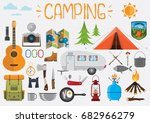 camping elements. set of... | Shutterstock .eps vector #682966279