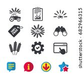tractor icons. wreath of wheat...