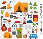 camping elements. set of... | Shutterstock .eps vector #682966321