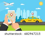 booking taxi via mobile app....   Shutterstock .eps vector #682967215