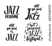 jazz festival set   hand drawn... | Shutterstock .eps vector #682968505