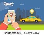 booking taxi via mobile app....   Shutterstock .eps vector #682969369