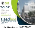 blue and green flyer cover... | Shutterstock .eps vector #682972069