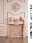 beautiful beige fireplace with... | Shutterstock . vector #682978165