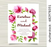 roses summer wedding invitation.... | Shutterstock . vector #682978351