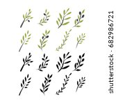 olive brunch set. vector... | Shutterstock .eps vector #682986721