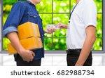 man hand holds american  50... | Shutterstock . vector #682988734