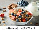 healthy breakfast concept with... | Shutterstock . vector #682991551