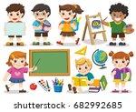 back to school. set of adorable ... | Shutterstock .eps vector #682992685