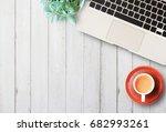 flat lay home business desk... | Shutterstock . vector #682993261