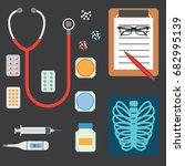 top view of doctor's table in... | Shutterstock .eps vector #682995139