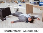 businessman dead on the office... | Shutterstock . vector #683001487