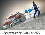 businessman in mortgage debt...   Shutterstock . vector #683001499