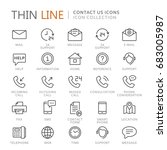 collection of contact us thin... | Shutterstock .eps vector #683005987