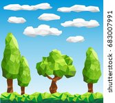 polygon trees in forest | Shutterstock .eps vector #683007991
