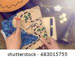 treasure map hand drawn in... | Shutterstock . vector #683015755