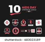 world aids day   vector badges. ... | Shutterstock .eps vector #683023189
