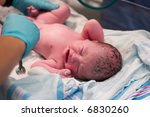 newborn baby being examined in... | Shutterstock . vector #6830260
