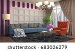 interior living room. 3d... | Shutterstock . vector #683026279