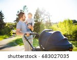 father with little son and baby ... | Shutterstock . vector #683027035