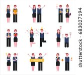 korean students girl and boy... | Shutterstock .eps vector #683027194