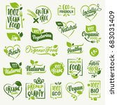 Organic food, farm fresh and natural product labels and badges collection for food market, ecommerce, organic products promotion, healthy life and premium quality food and drink. | Shutterstock vector #683031409