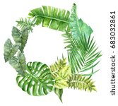 tropical wreath design with... | Shutterstock . vector #683032861