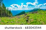 panorama of mountain slopes... | Shutterstock . vector #683043544