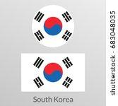 south korea flag set. korean...   Shutterstock .eps vector #683048035
