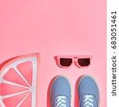 summer hipster girl accessories ... | Shutterstock . vector #683051461