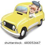 Man Driving A Yellow Renault 4
