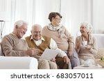 elderly friends relaxing at day ... | Shutterstock . vector #683057011