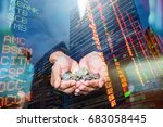 a coins in people hands in... | Shutterstock . vector #683058445