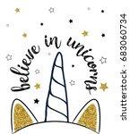 sweet unicorn horn print design ...   Shutterstock .eps vector #683060734