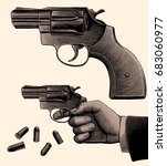 hand with a revolver. design... | Shutterstock .eps vector #683060977