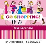 woman shopping card | Shutterstock .eps vector #68306218