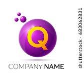 realistic letter q splash logo. ... | Shutterstock . vector #683062831