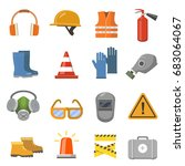 safety work flat icons set.... | Shutterstock . vector #683064067