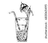 sketch cocktail glass contour... | Shutterstock .eps vector #683065495